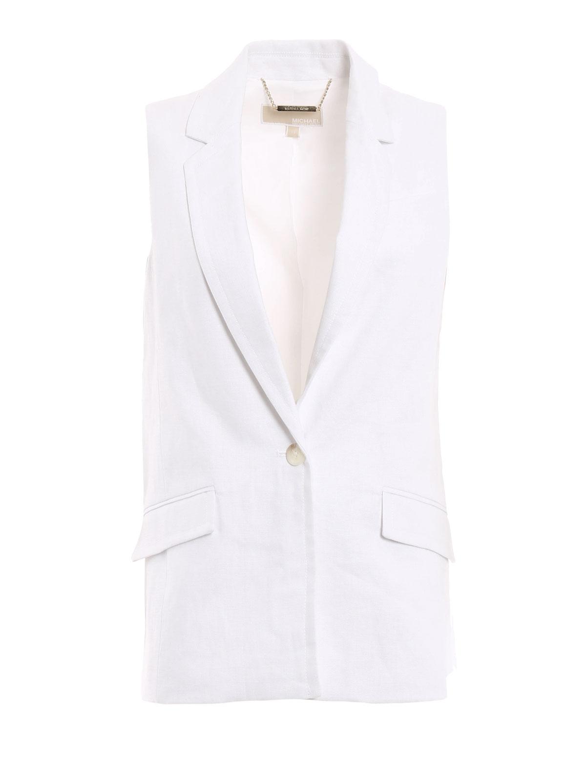 Sleeveless linen blazer by Michael Kors - blazers | iKRIX