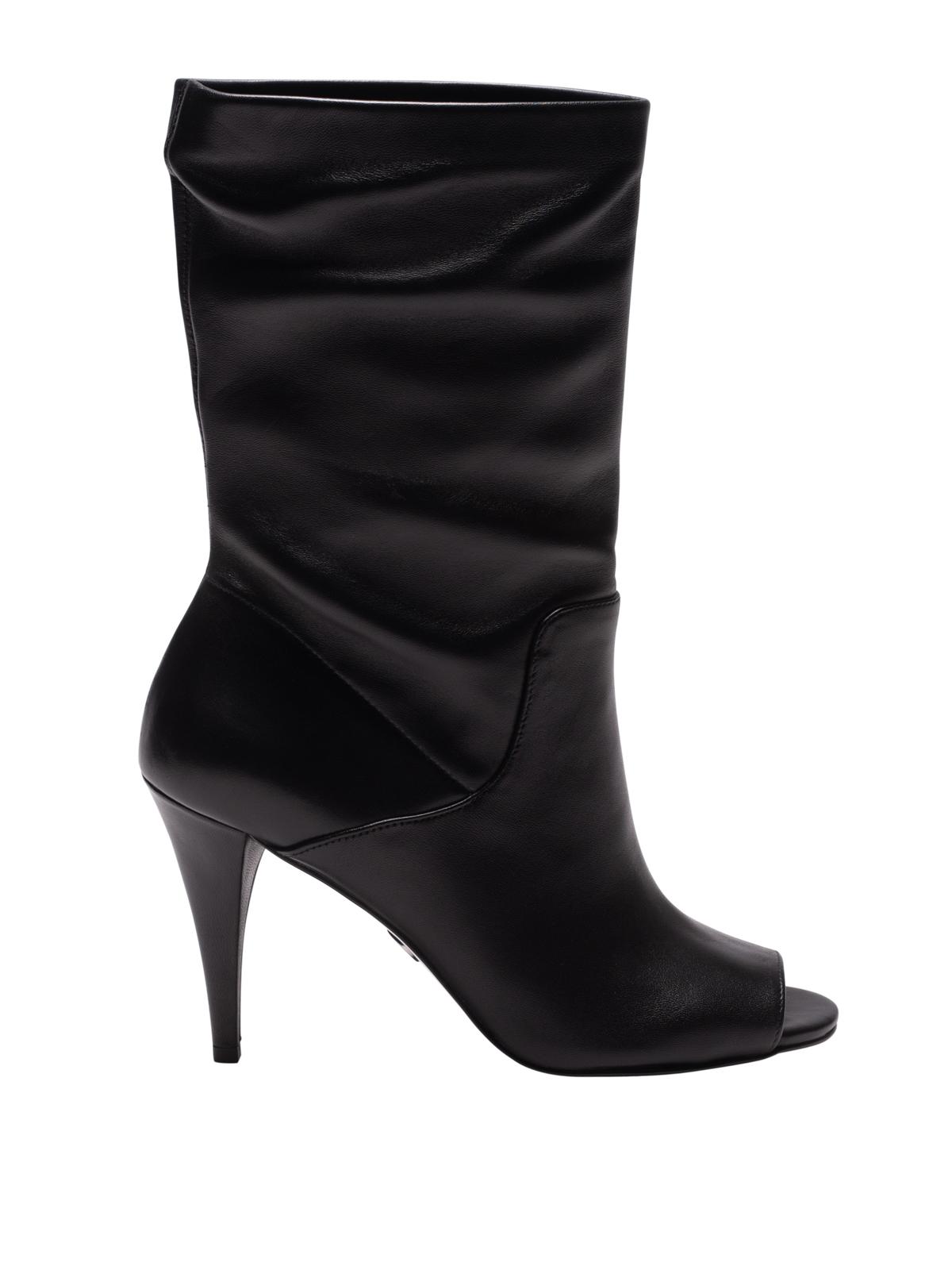 Elaine black leather peep toe booties