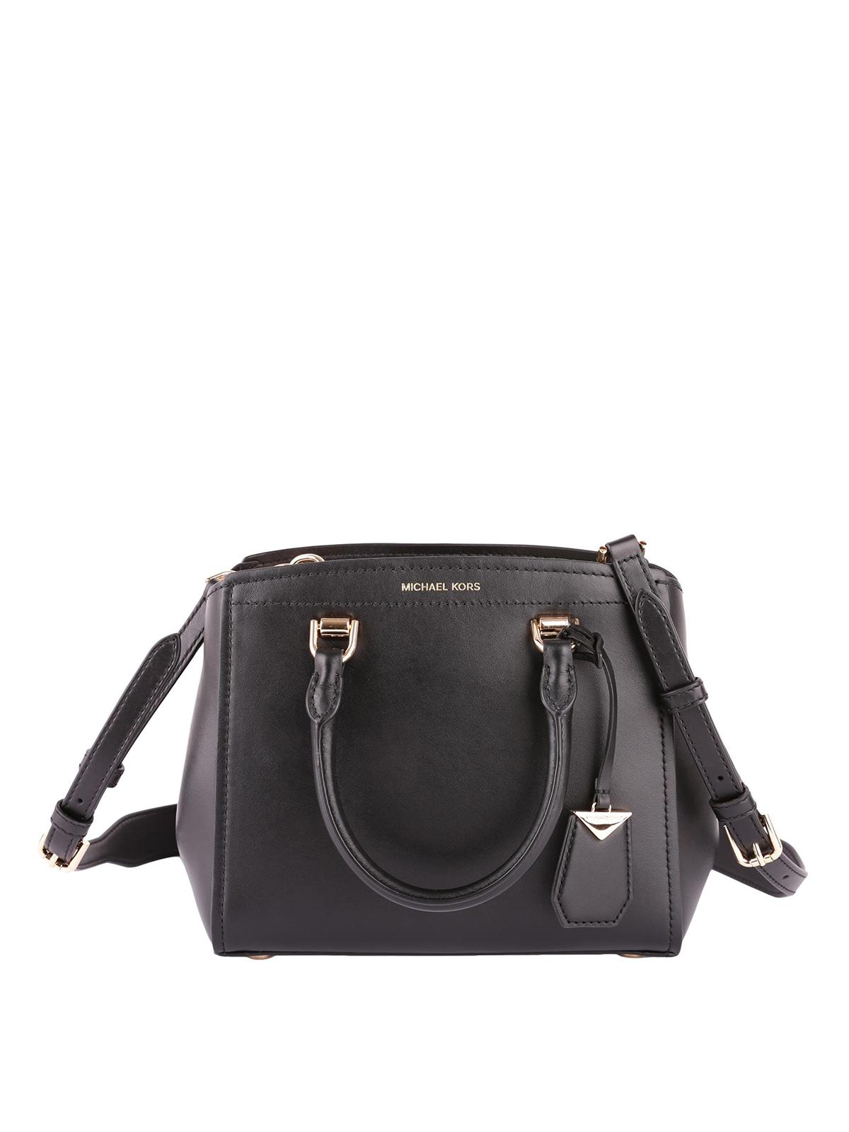 d10d76e4ed14 Michael Kors - Benning medium black leather bag - bowling bags ...