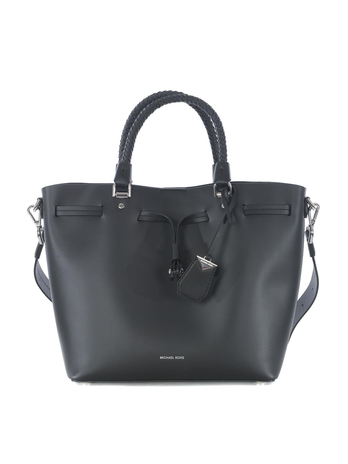 c9d45752c3df4f Michael Kors - Blakely M black leather bucket bag - Bucket bags ...