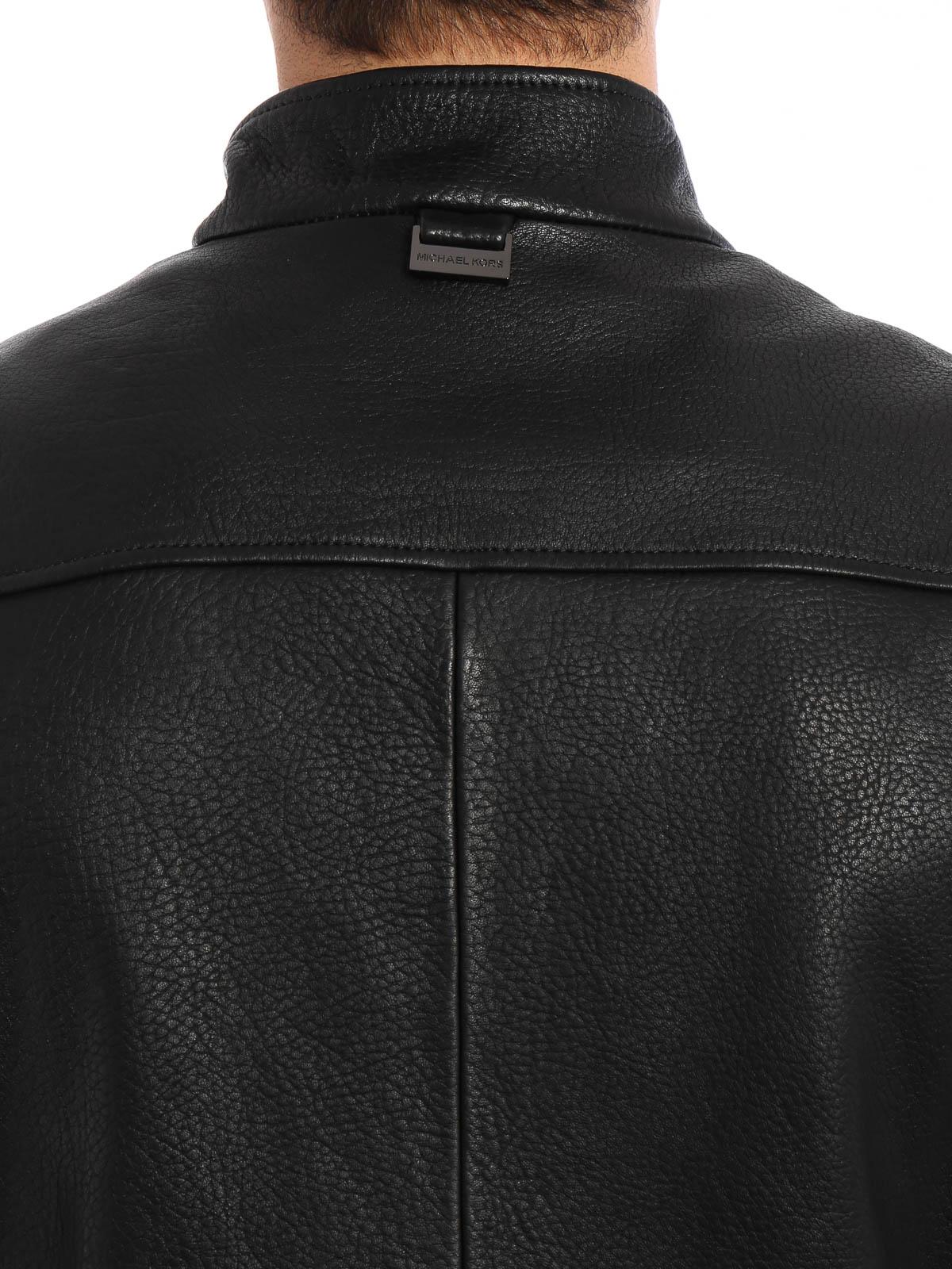 Michael Kors Manteau En Cuir Noir Pour Homme Vestes en