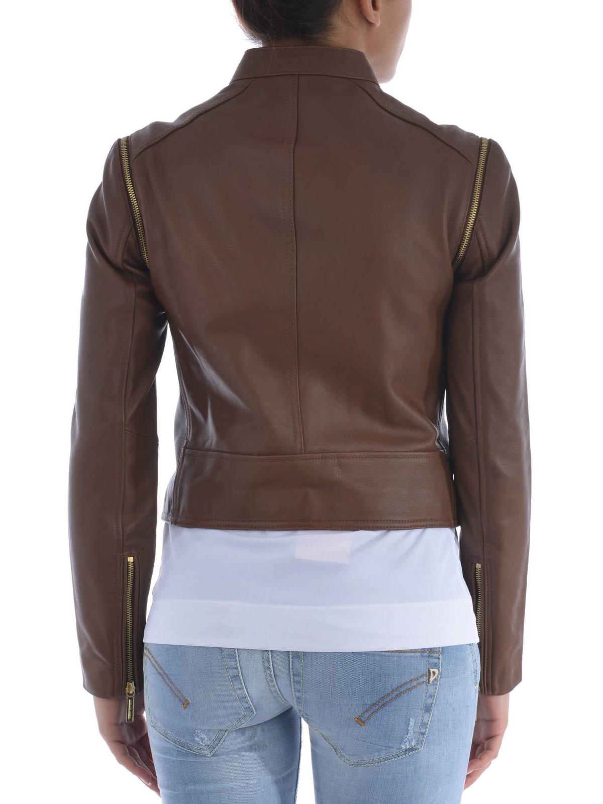 Michael kors leather motorcycle jacket