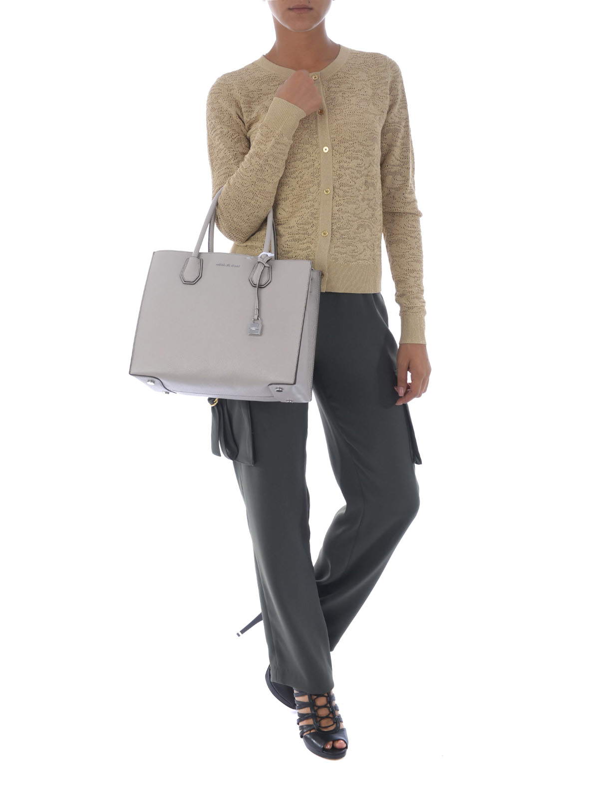 5e9fa8755fc10f Michael Kors - Mercer large cement leather tote - totes bags ...