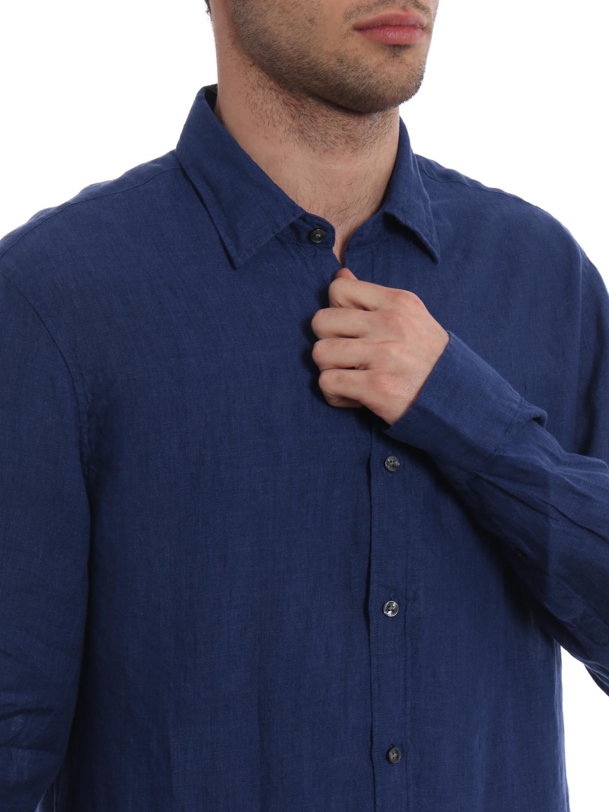 super popular ca10d 5d1f1 Michael Kors - Camicia in lino blu notte - camicie ...