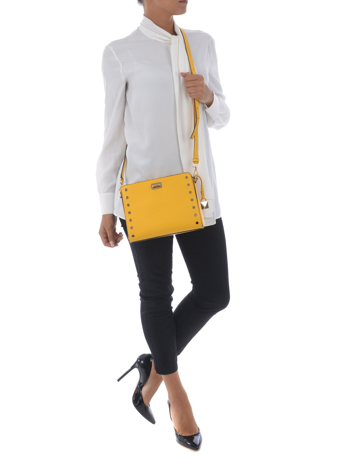 07c948e07e25 Michael Kors - Sylvie studded yellow messenger bag - cross body bags ...