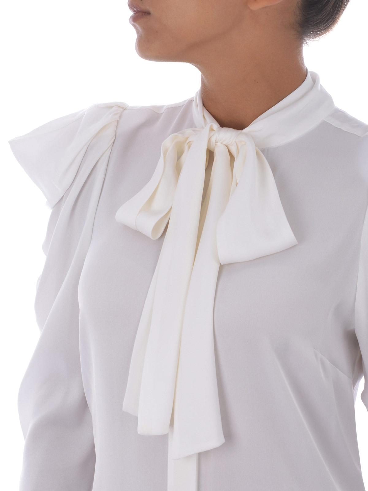 cfdeac7a114488 Michael Kors - Camicia con fiocco in seta bianca - camicie ...