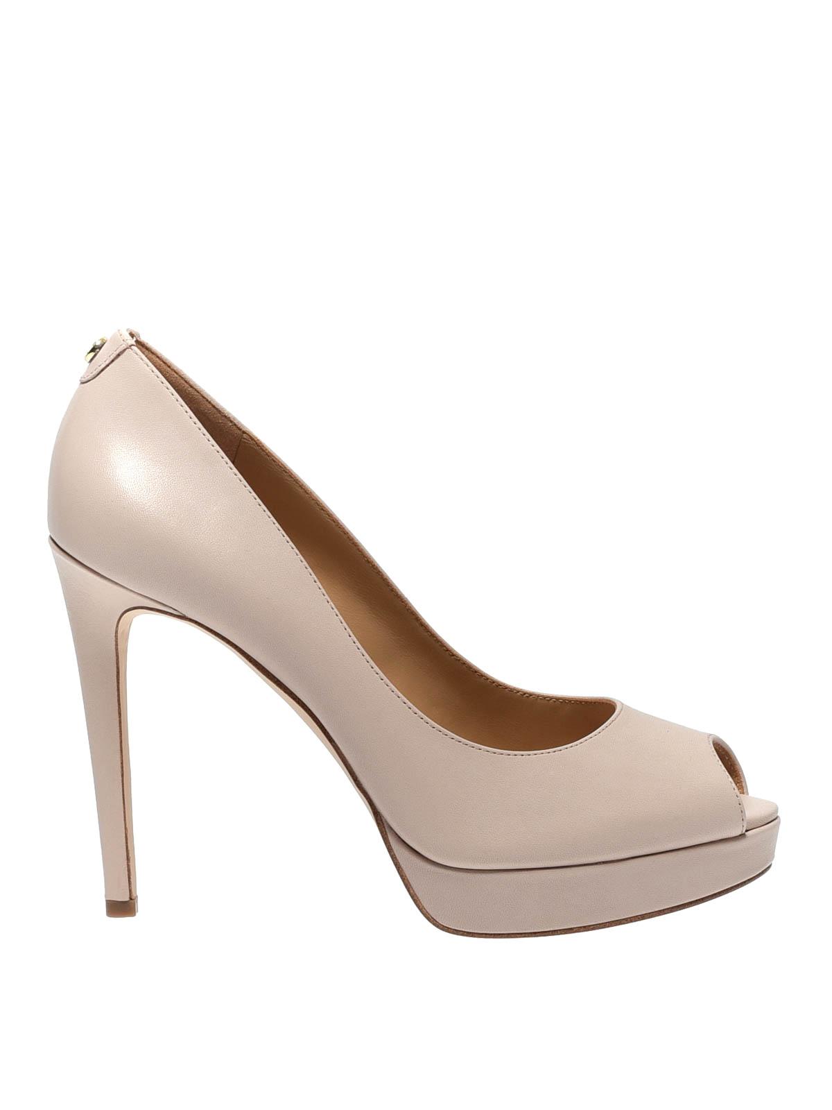 Erika pink leather peep toe platform