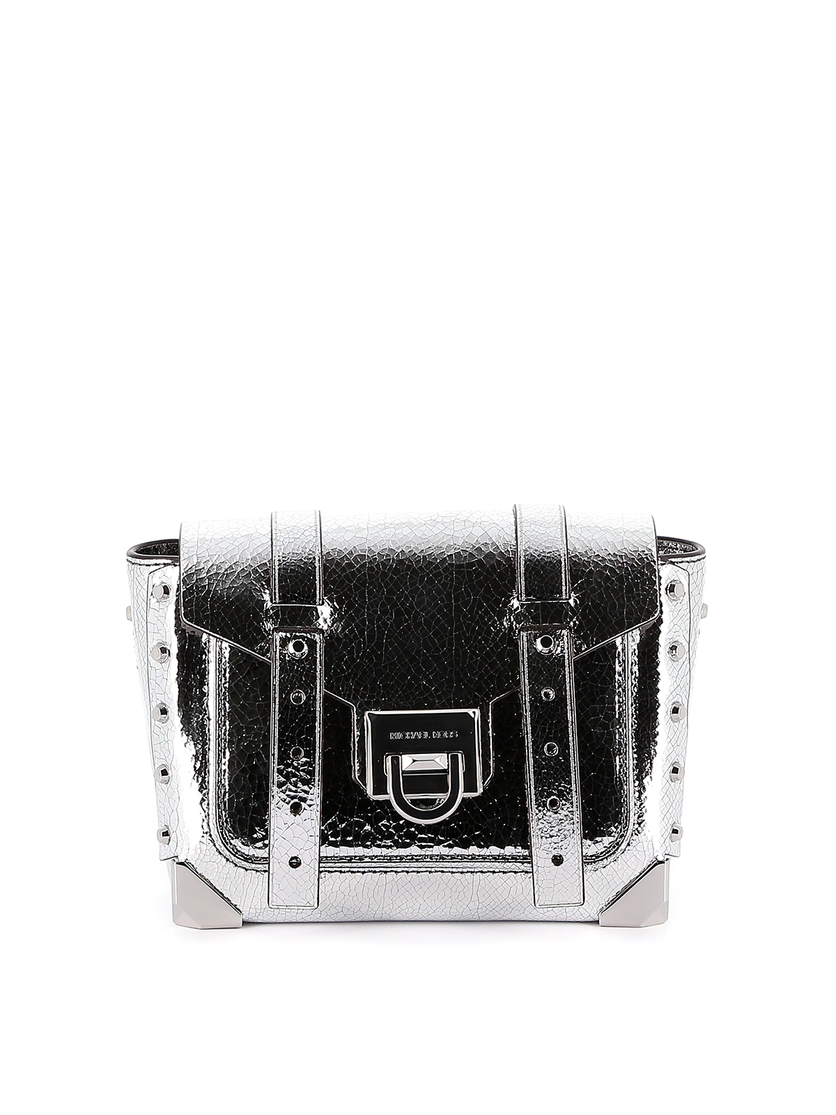 Manhattan S Leather Cross Body Bag In Silver