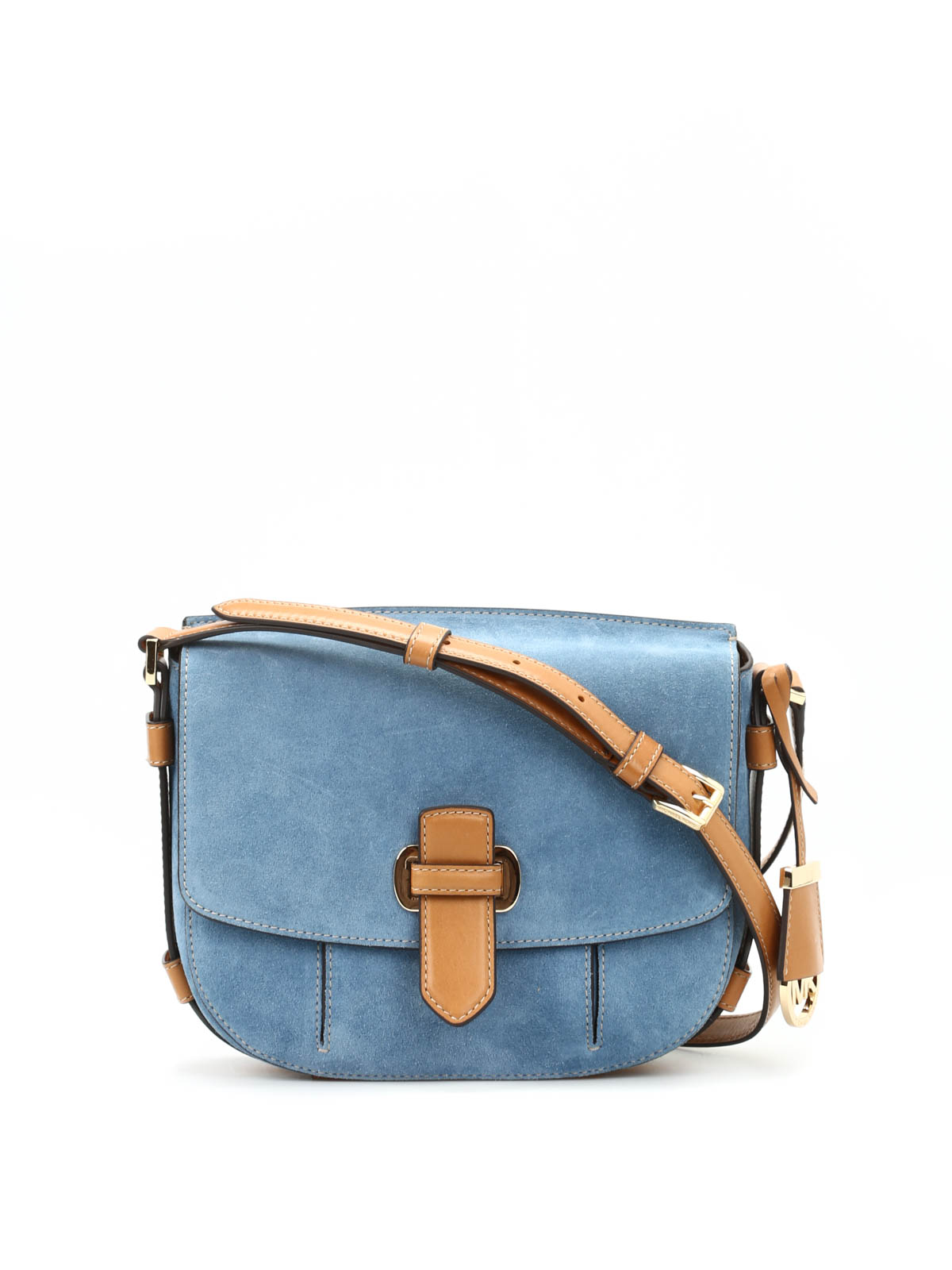 12d1a3a5f634 Michael Kors - Romy suede and leather messenger - cross body bags ...