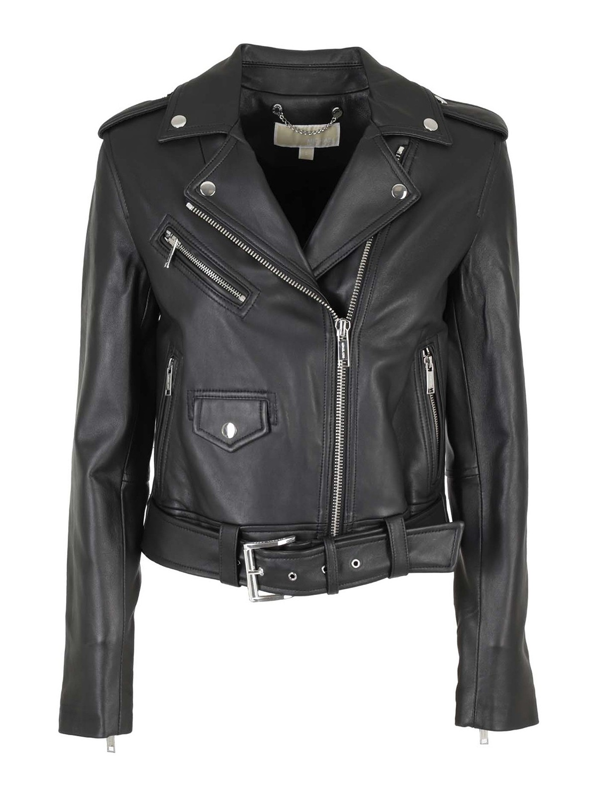 Michael Kors CROPPED LEATHER MOTO JACKET