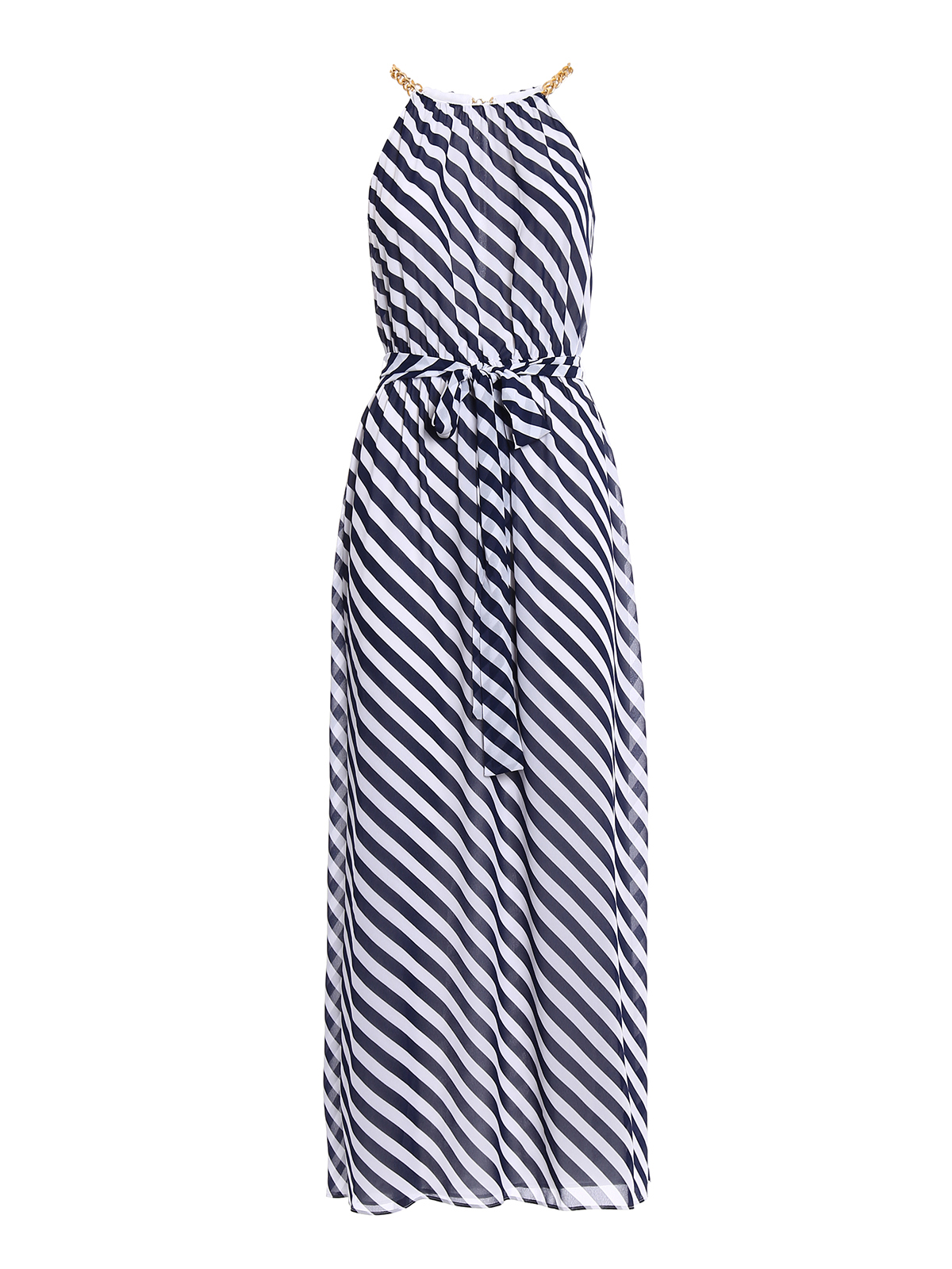 new concept a7a43 73f17 Michael Kors - Maxi abito a righe con catena - abiti lunghi ...