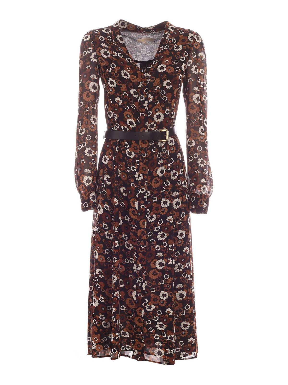 Michael Kors FLORAL PRINT LONG DRESS IN BLACK AND BROWN