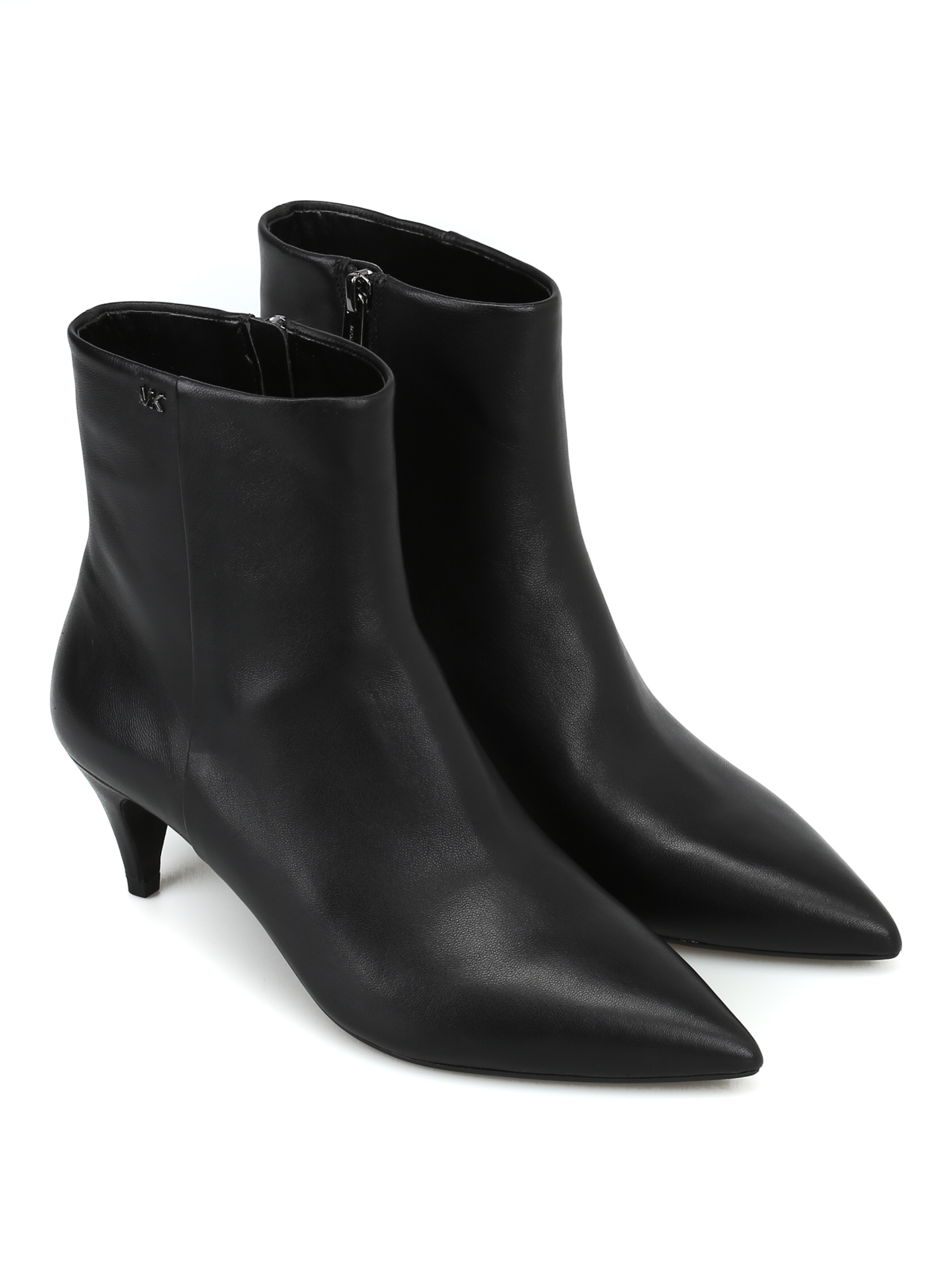 Blaine Flex black leather kitten bootie