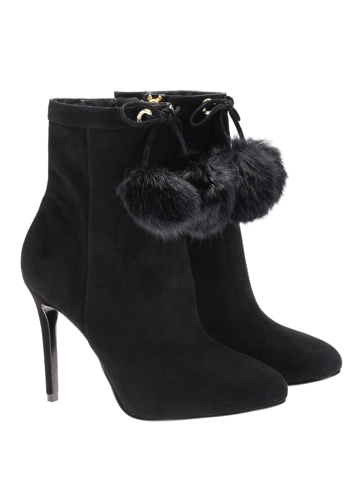 Remi fur detail black suede booties