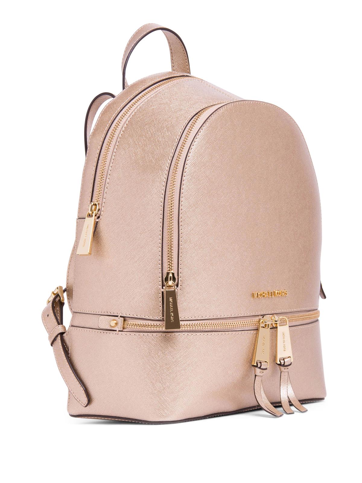 0f898272936f MICHAEL KORS: backpacks online - Metallic Saffiano Rhea backpack