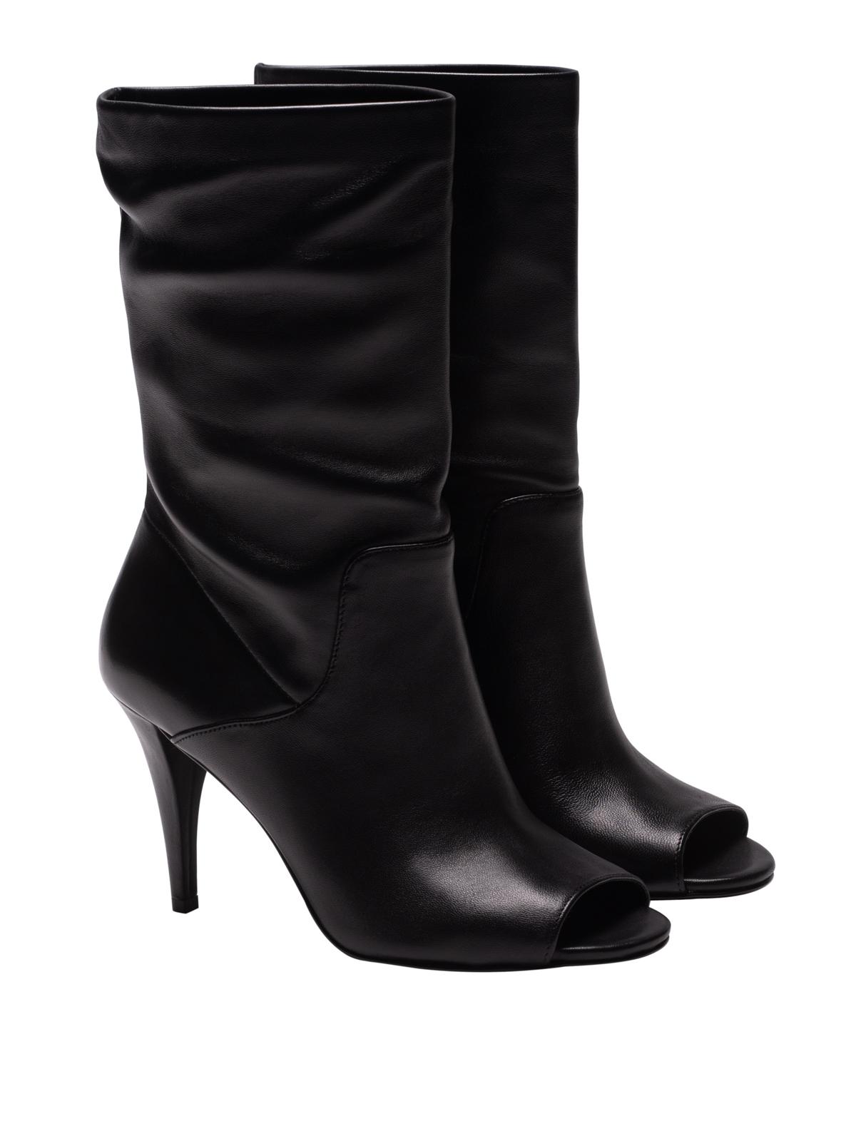 Michael Kors - Elaine Black Leather Peep Toe Booties - Boots - 40T8Elhe8L 001-1137