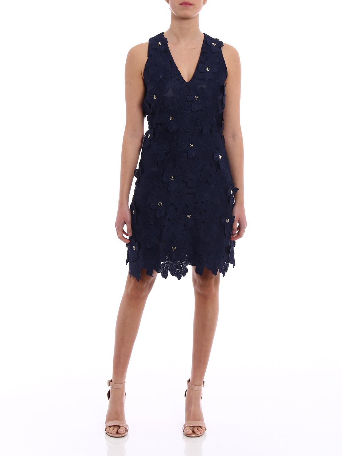 Michael Kors Floral Applique Blue Lace Dress Cocktail