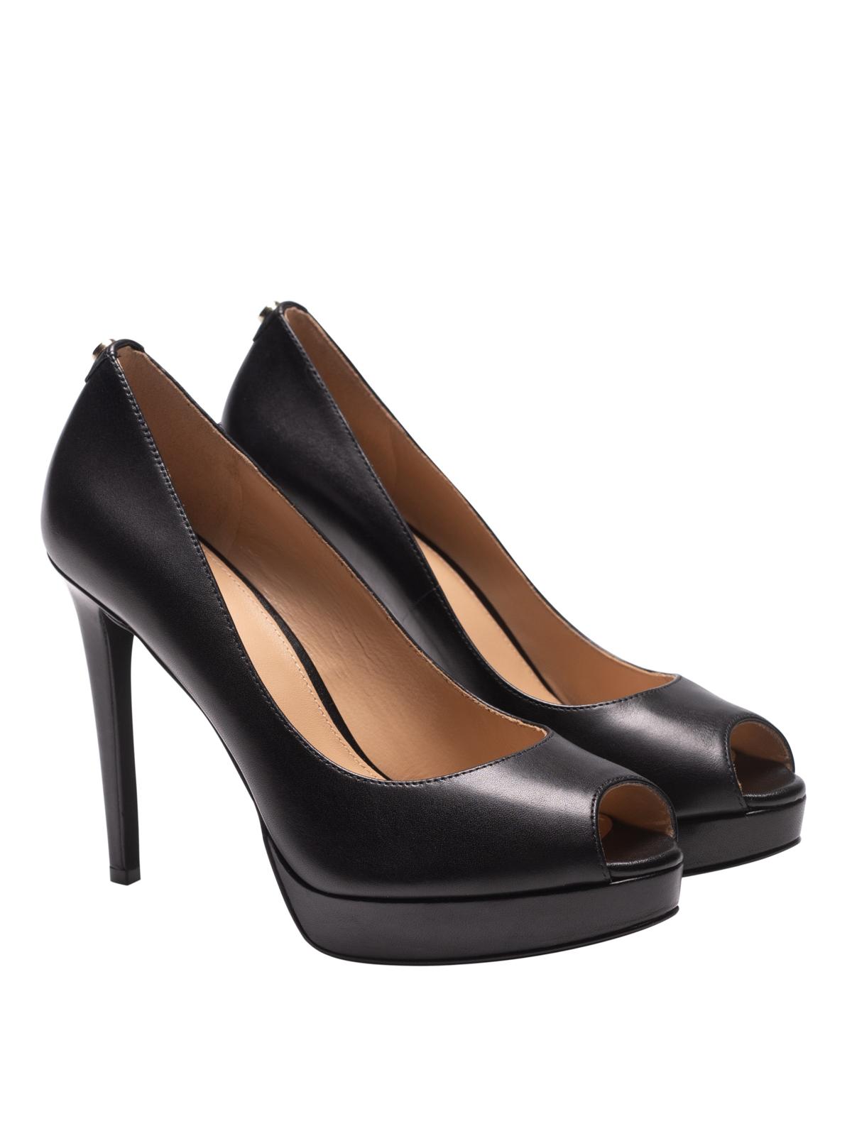 black leather peep toe platform pumps