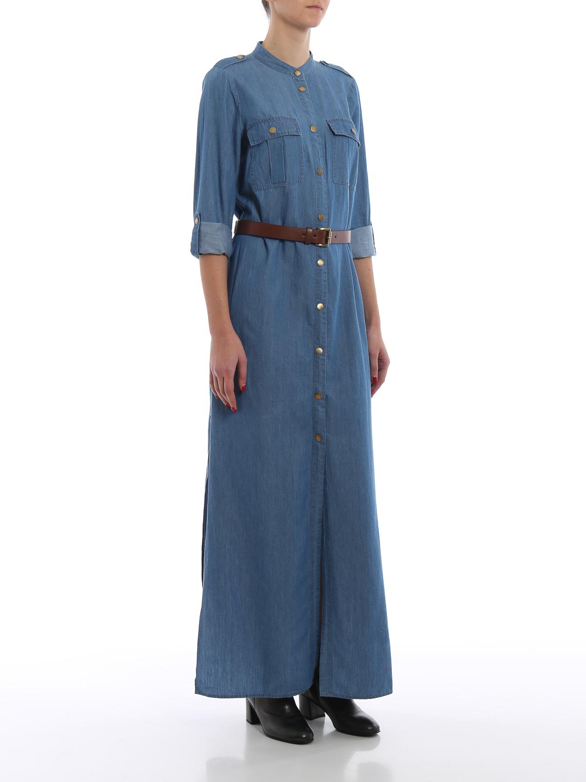 Michael Kors - Light denim maxi belted shirt dress - maxi dresses ...
