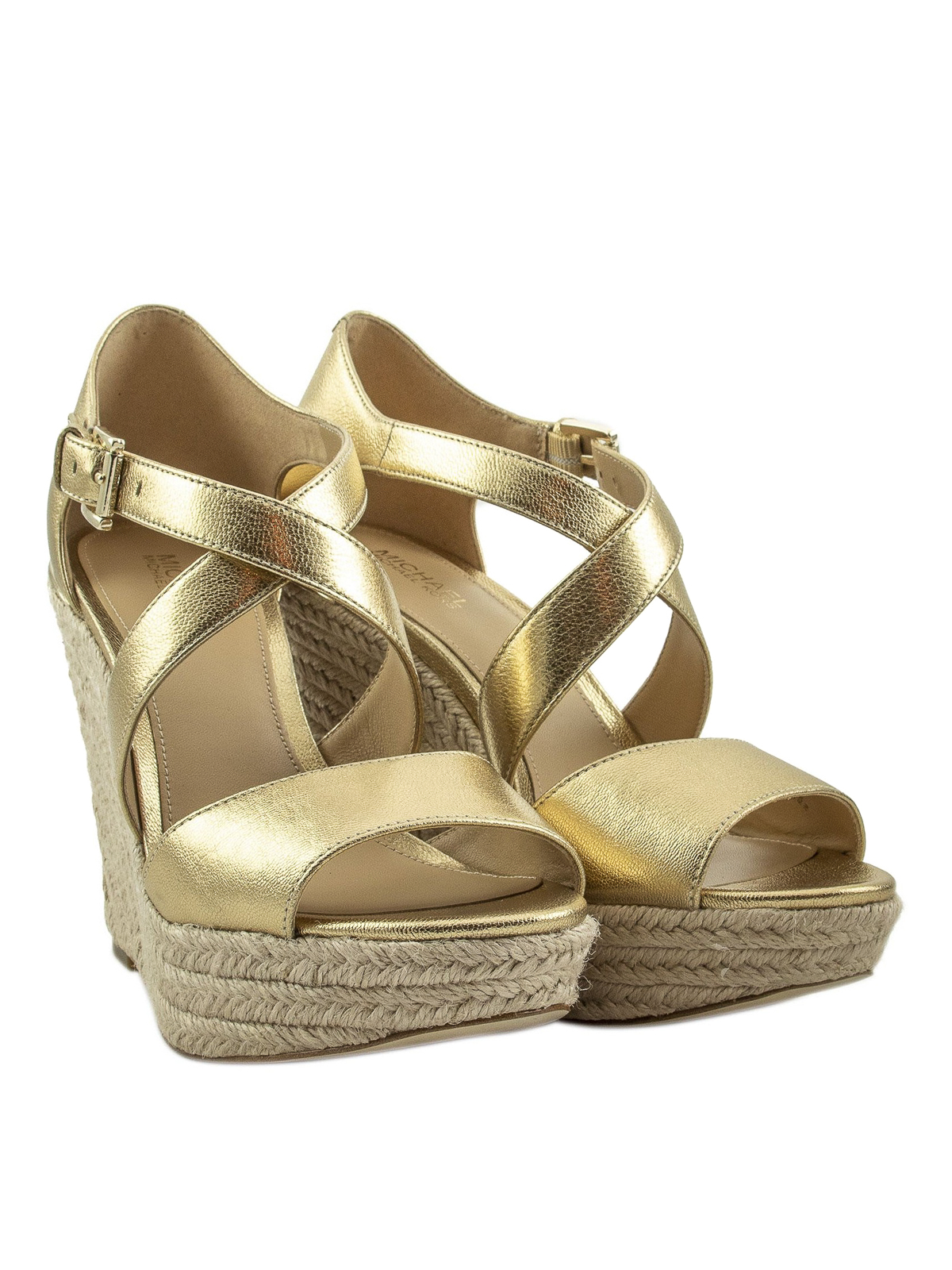 Abbott gold-tone leather wedge sandals