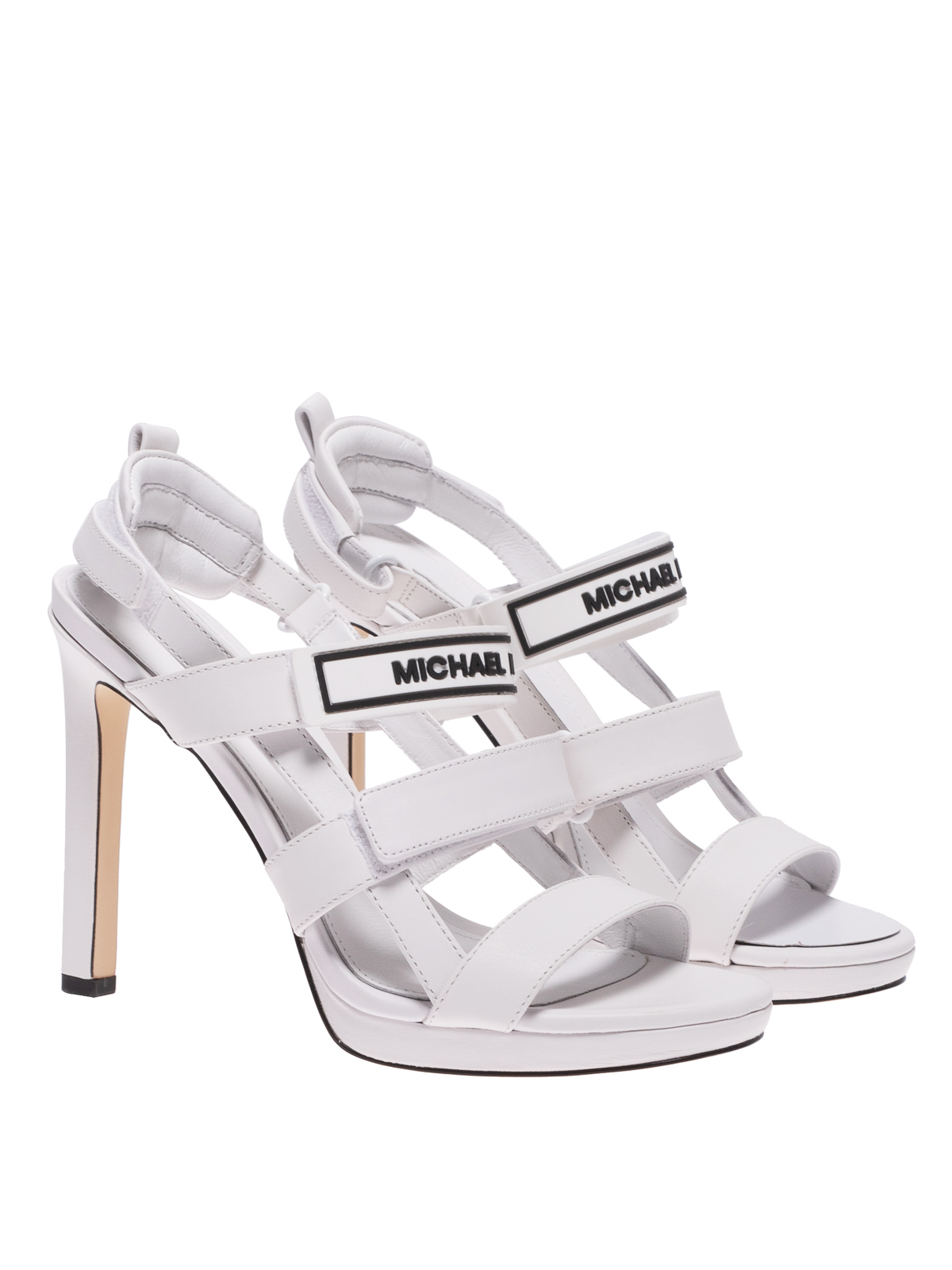 Demi white leather heeled sandals
