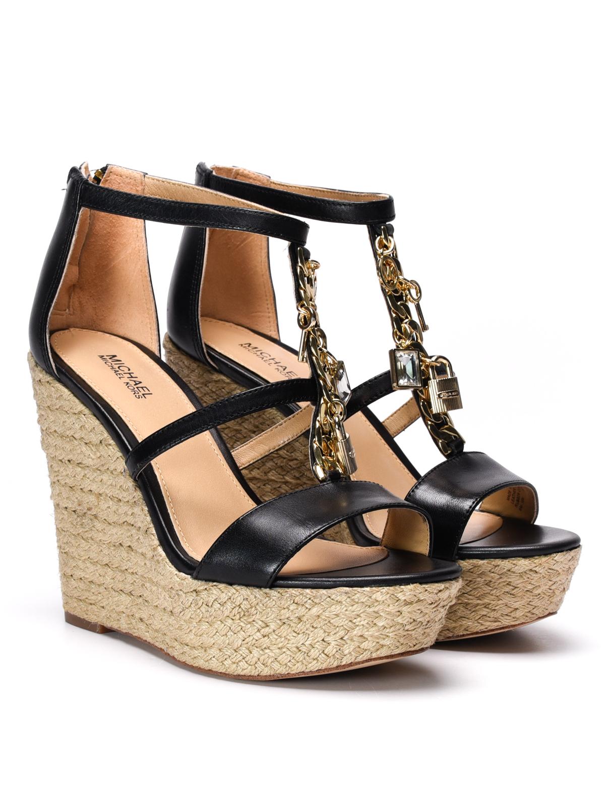 40d09f9bb5e0f Michael Kors - Suki wedge leather sandals - sandals - 40R7SKHA1L 001