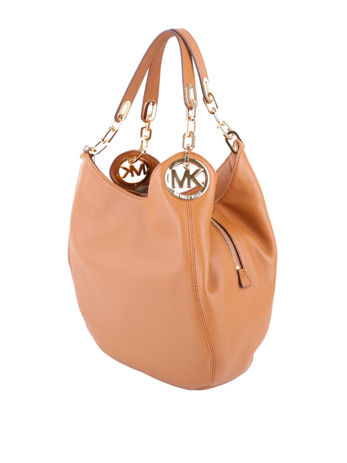 557db9649307 MICHAEL KORS  shoulder bags online - Fulton large acorn leather shoulder bag