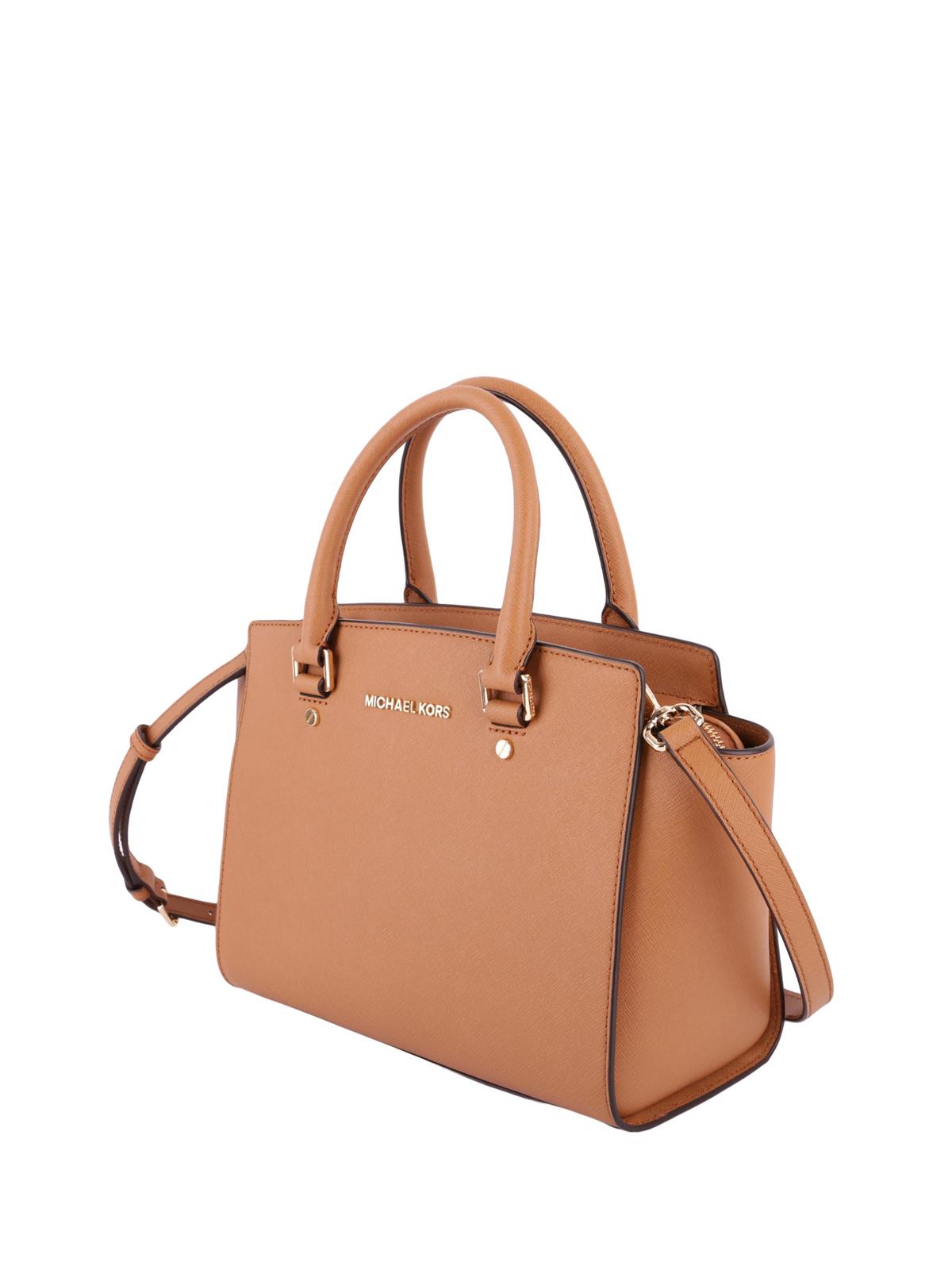 59b2b3e4b551 MICHAEL KORS: totes bags online - Selma medium acorn saffiano top zip tote