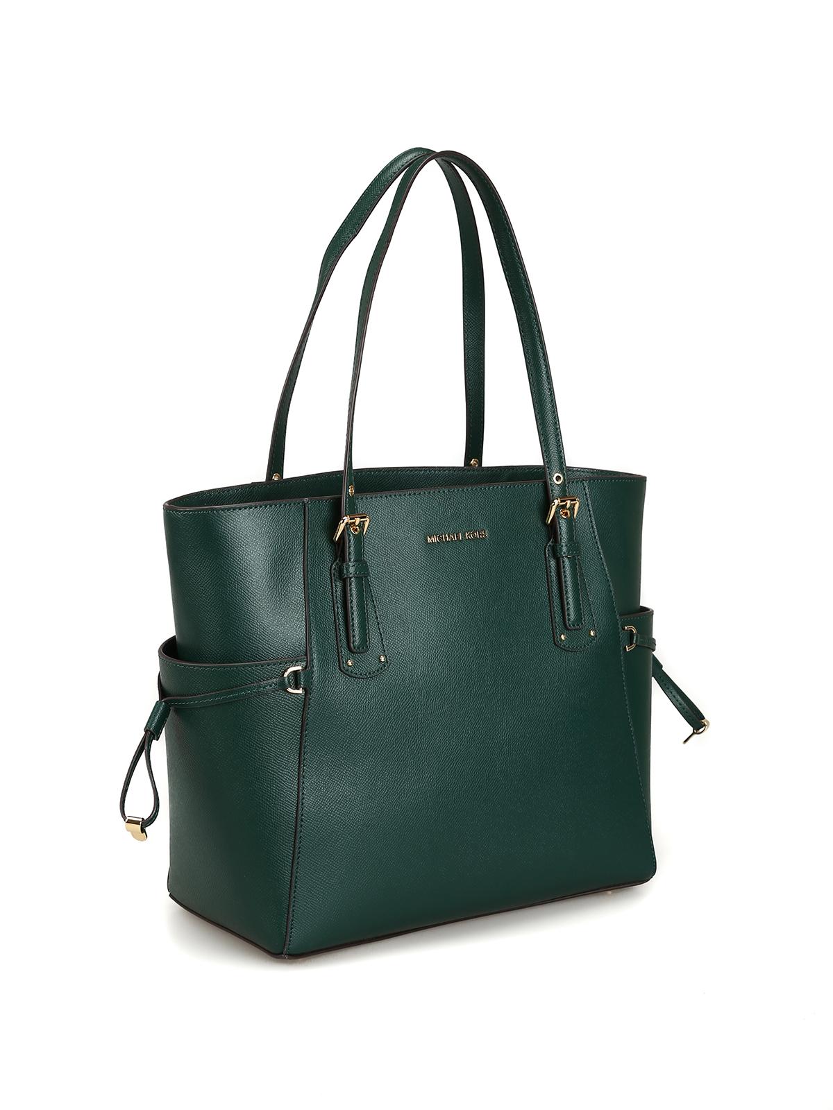 660fda5c80662b MICHAEL KORS: totes bags online - Voyager S dark green grainy leather bag