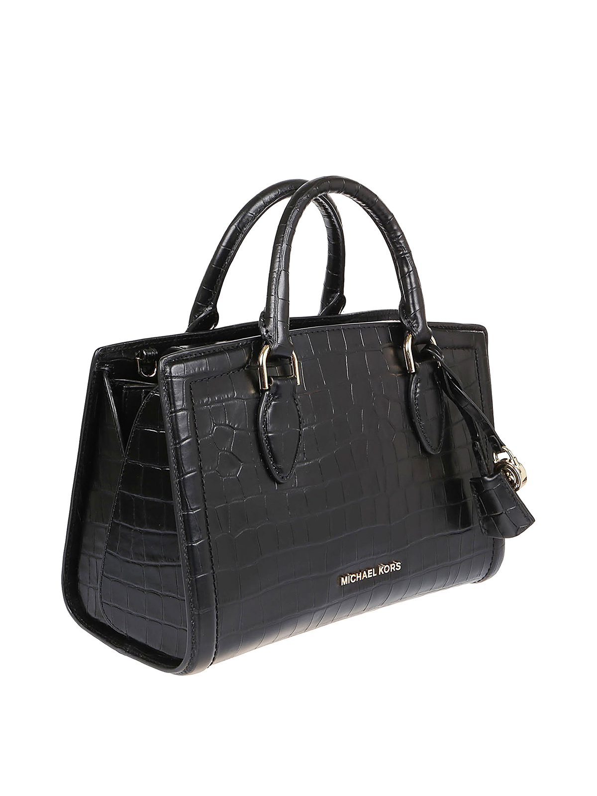 Michael Kors - Zoe M black croco print leather bowling bag - totes ...