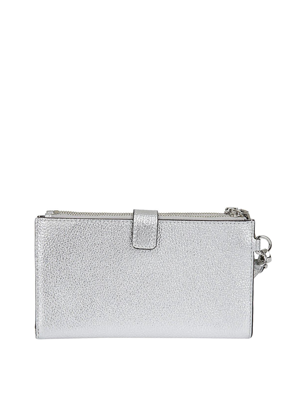 Michael Kors Silver laminated leather wallet wallets