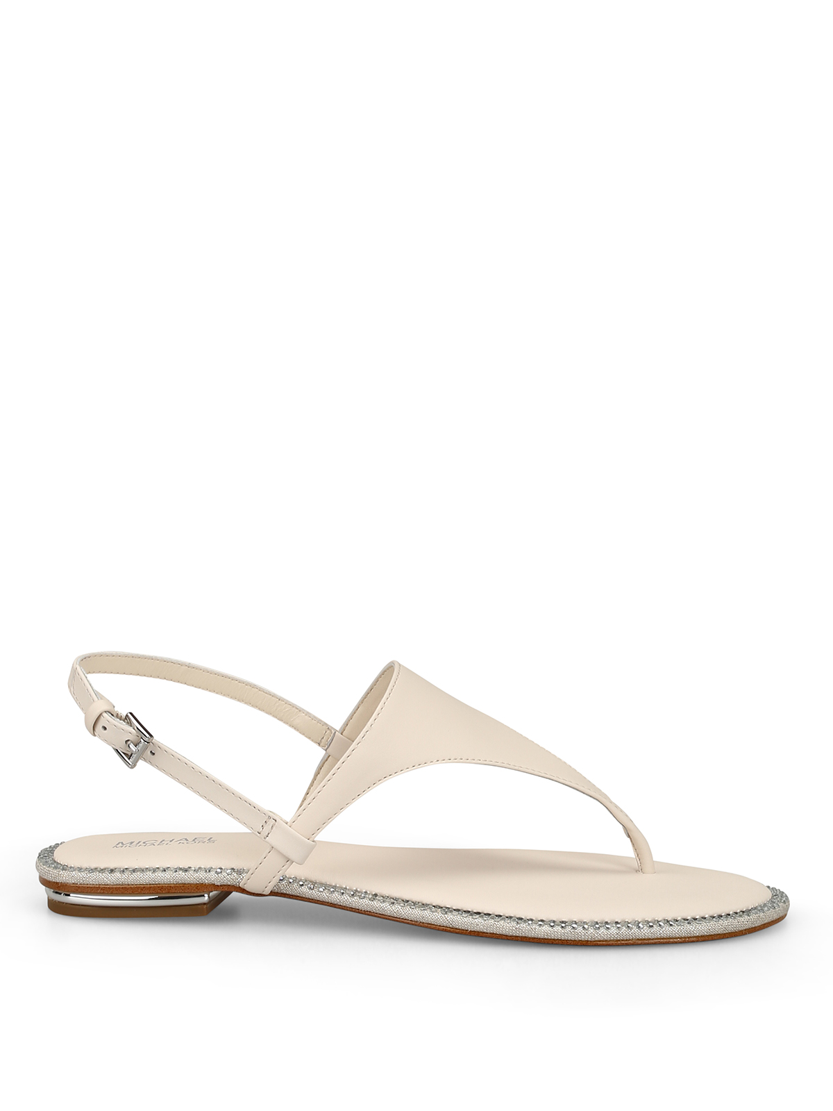 Michael Kors Enid Embellished Thong Sandals In White