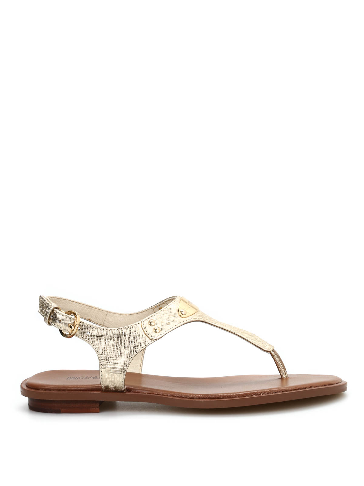 Michael Kors Plate Thong Sandals In Gold
