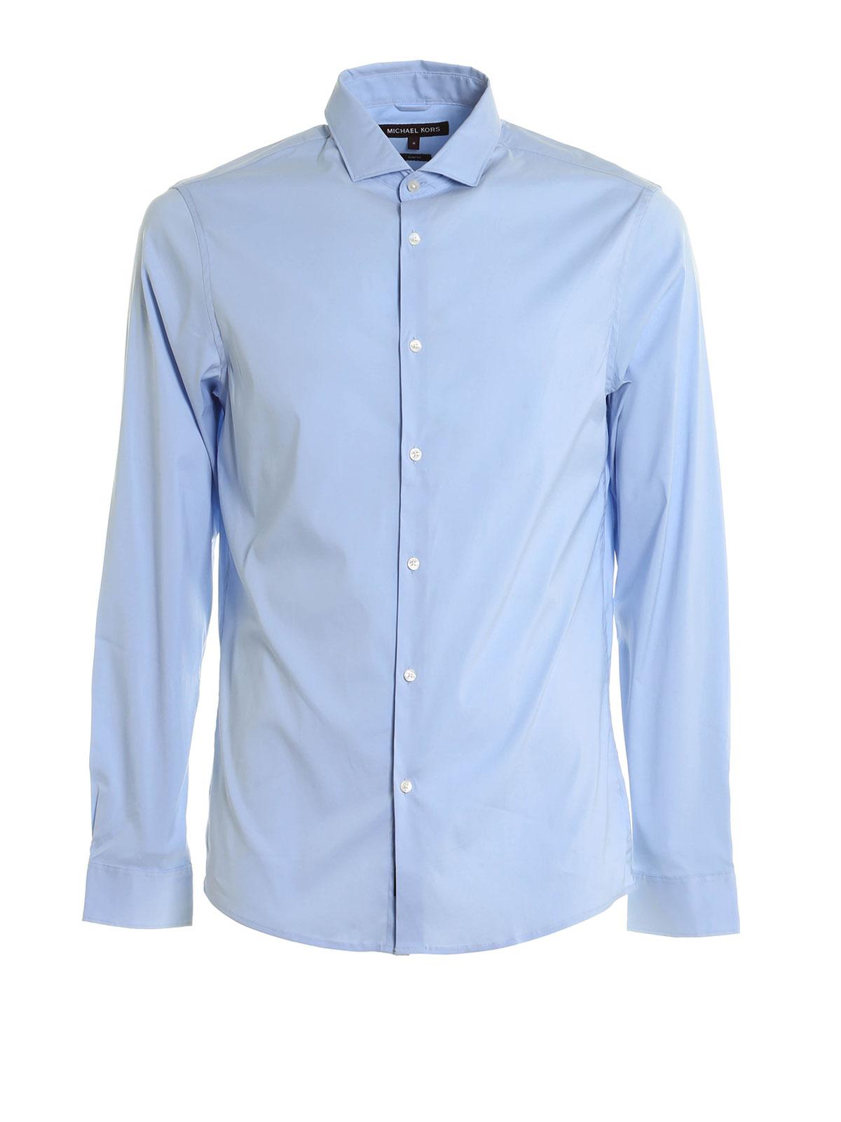 Slim fit cotton blend shirt by michael kors shirts for Slim fit cotton shirts
