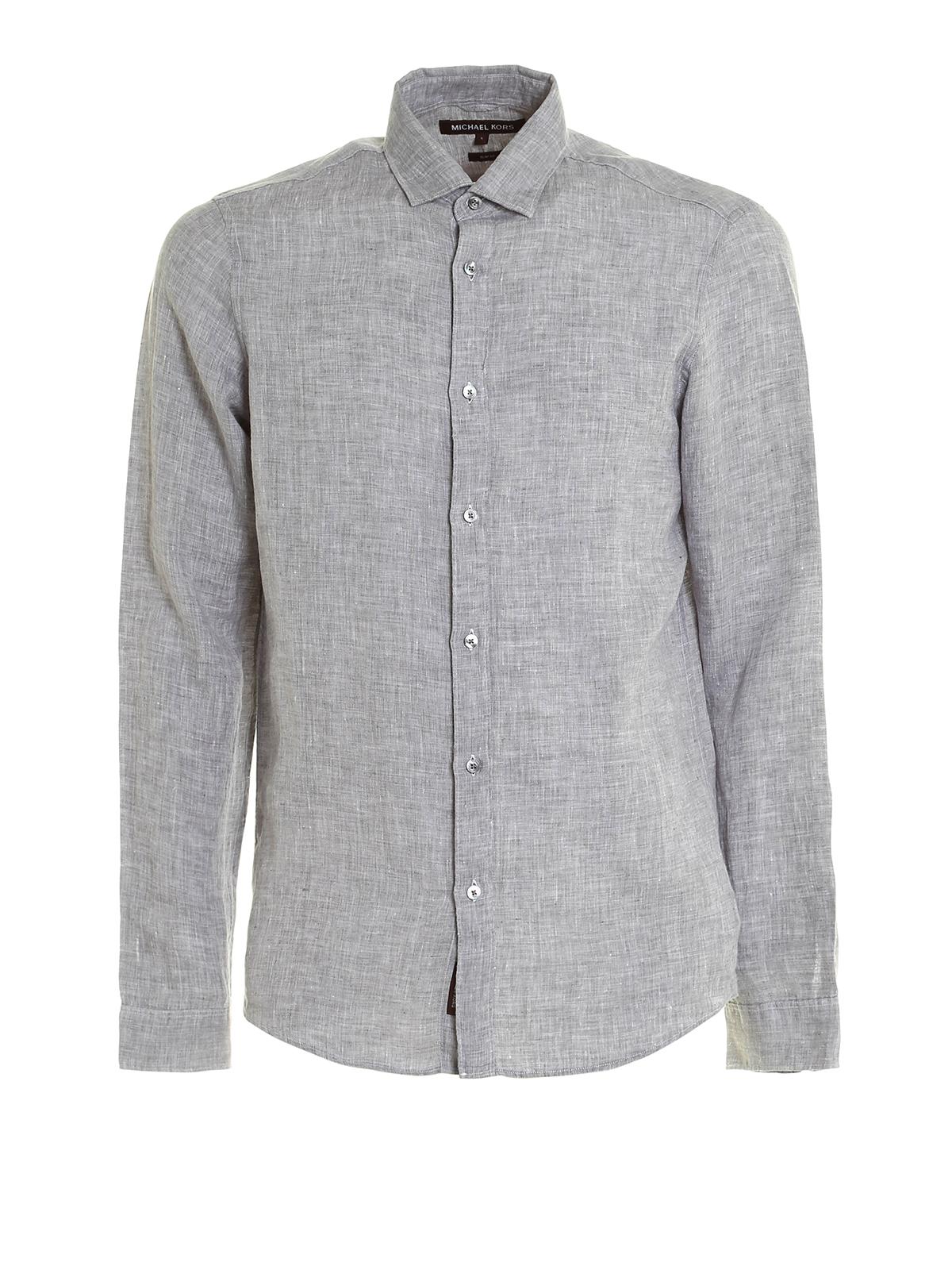 332cf16396f3 Michael Kors - Slim fit linen shirt - shirts - CS74CBU2GR063
