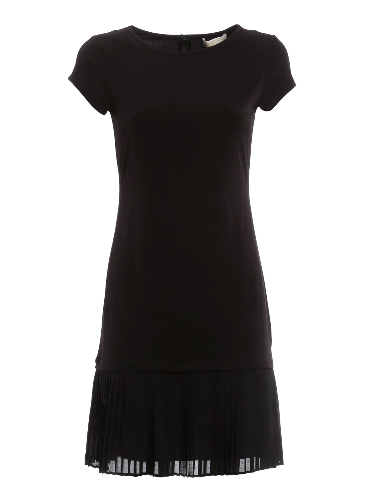 T shirt dress with pleated layer by michael kors short for Black pleated dress shirt