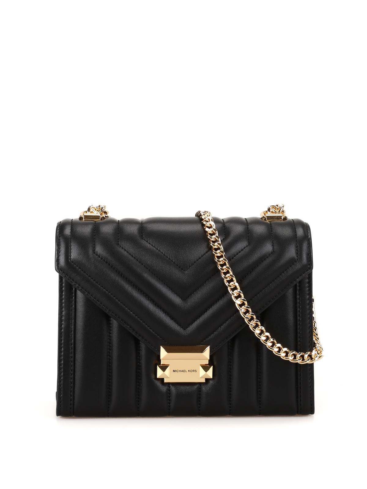 Whitney Quilted Large Shoulder Bag In Black