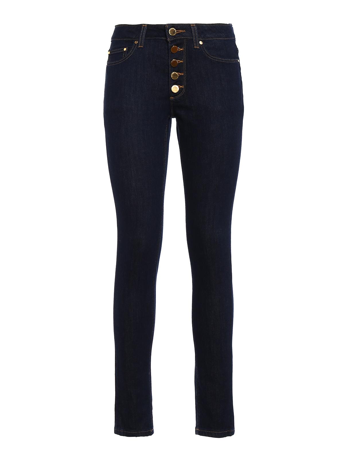 Michael Kors Gold Tone Button Slim Jeans Skinny Jeans
