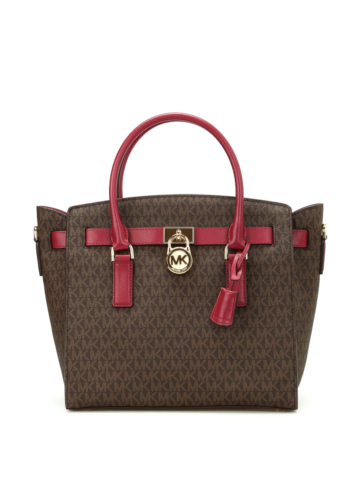 hamilton logo coated twill handbag by michael kors totes. Black Bedroom Furniture Sets. Home Design Ideas