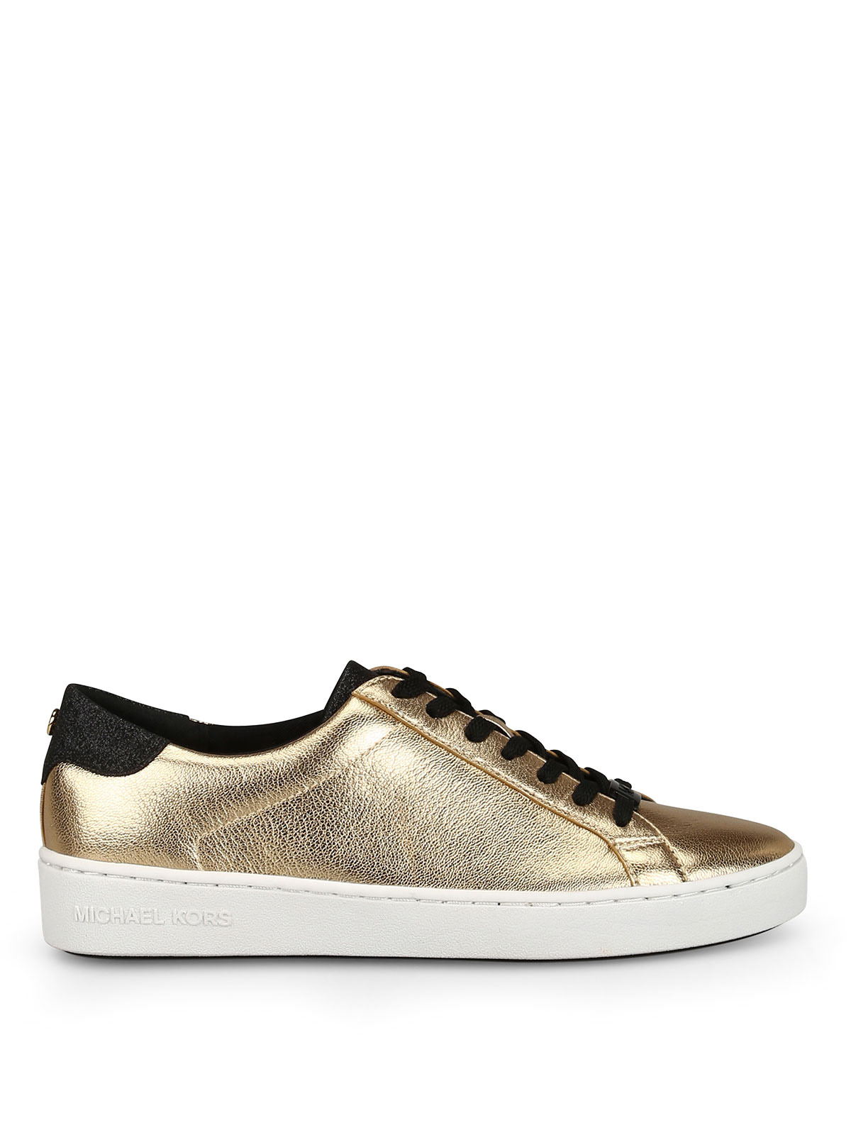 d1bdc8667cd6 Michael Kors - Irving gold-tone leather lace-up sneakers - trainers ...