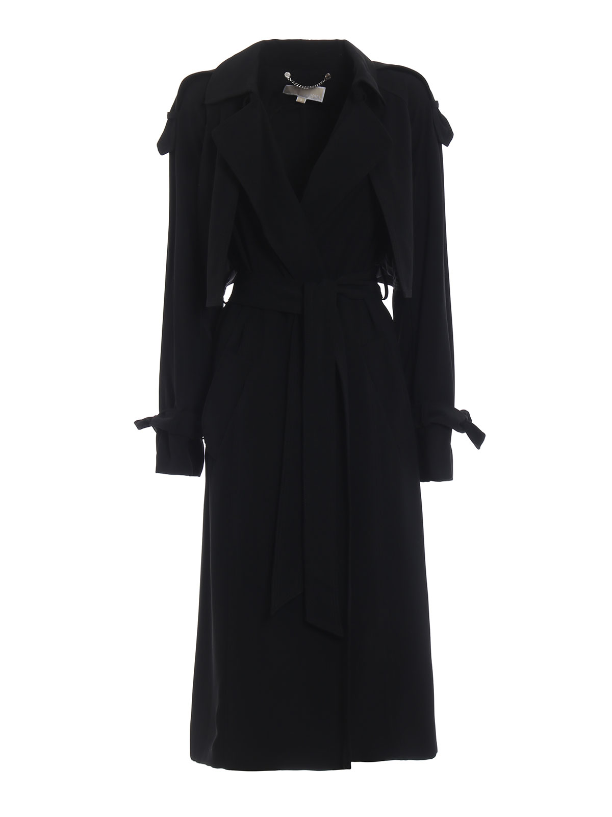 Michael Kors Tech Fabric Black Long Wrap Trench Coat
