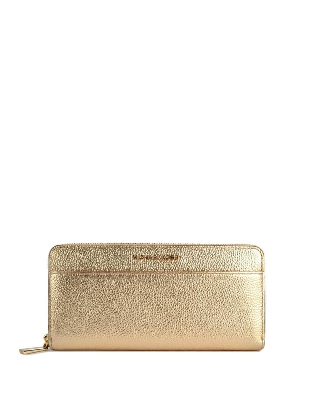 Michael Kors Mercer logo detailed hammered leather wallet