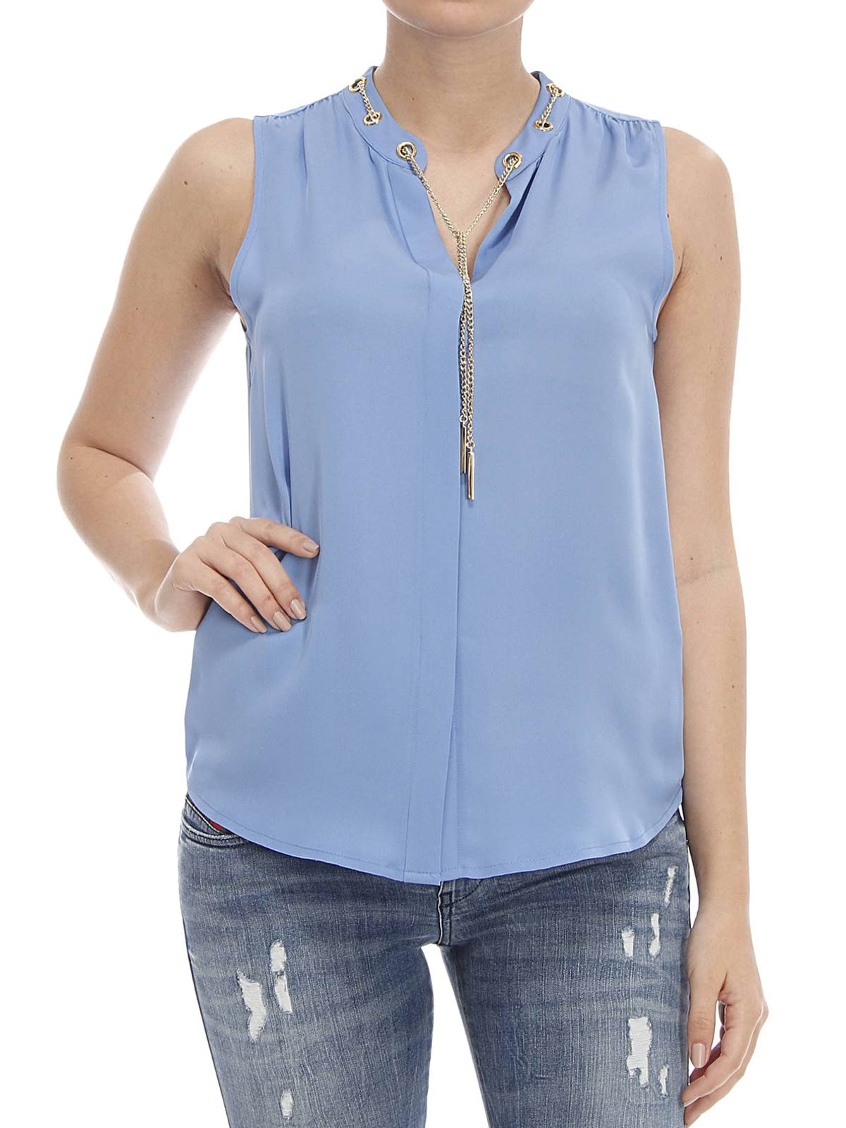 8c3a9a380a0f4 Michael Michael Kors  Tops   Tank tops online - Silk top with chain detail