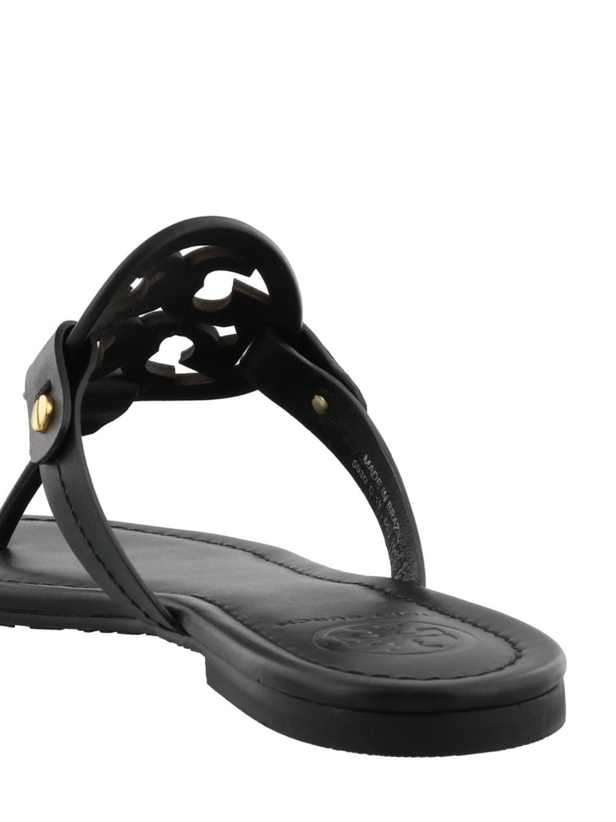 9384d7aba477 Tory Burch - Miller black leather thong sandals - flip flops ...