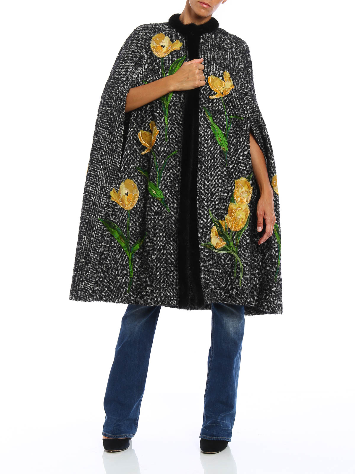 Mantella con ricami e visone Dolce & Gabbana