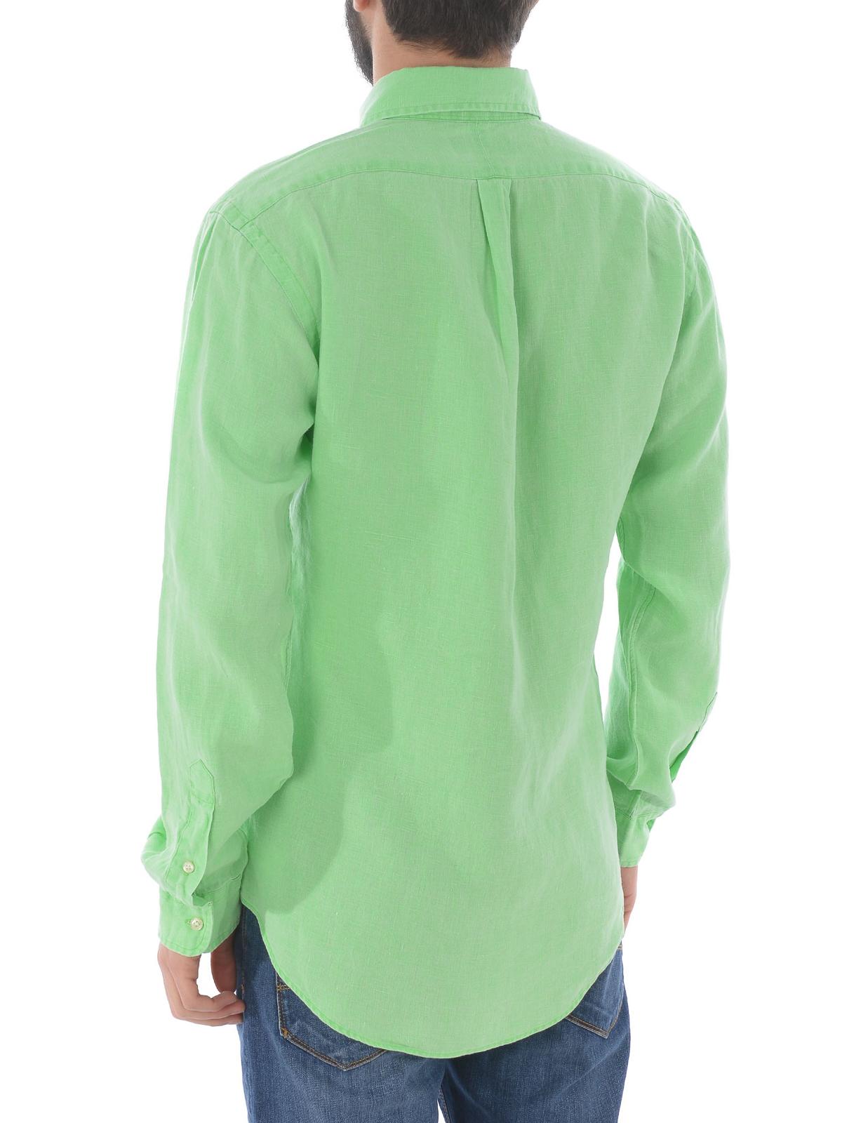 brand new 8f46f bcab6 Polo Ralph Lauren - Camicia in lino verde menta - camicie ...