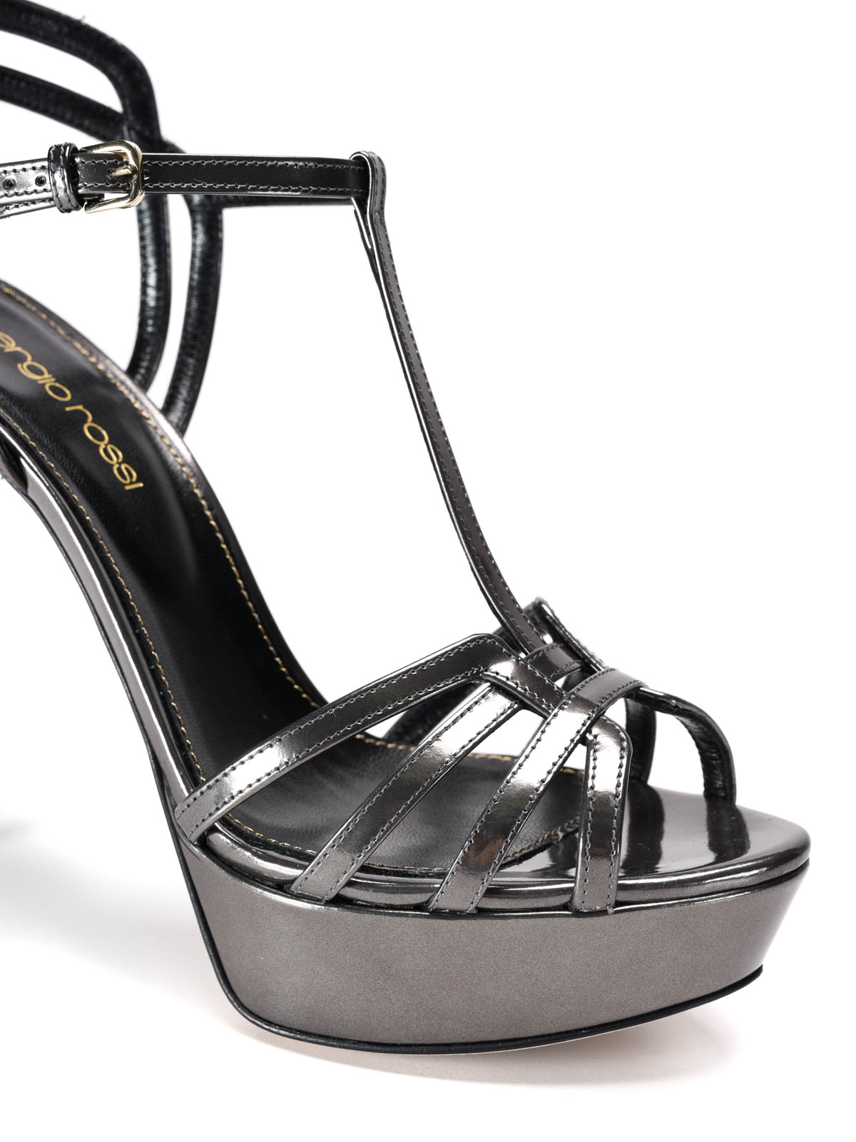 Sergio rossi sandali alti in vernice a specchio sandali a74170 mmv402 1000 111 - Vernice a specchio ...