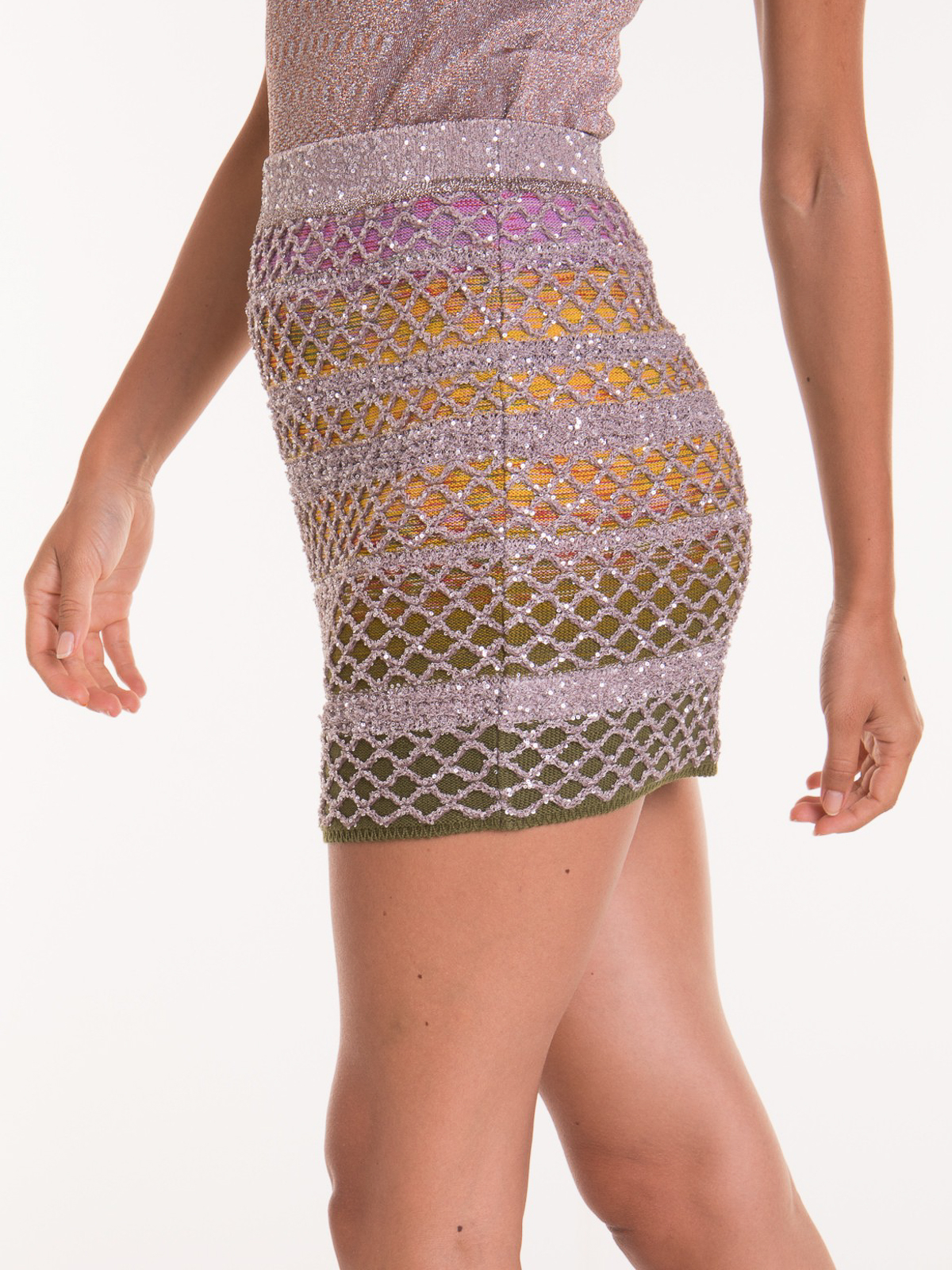 Mesh mini skirts online Mini Skirts Missoni Sequin Embellished Open Knit Mesh Mini Skirt Mdh00209bk00mhsm31r