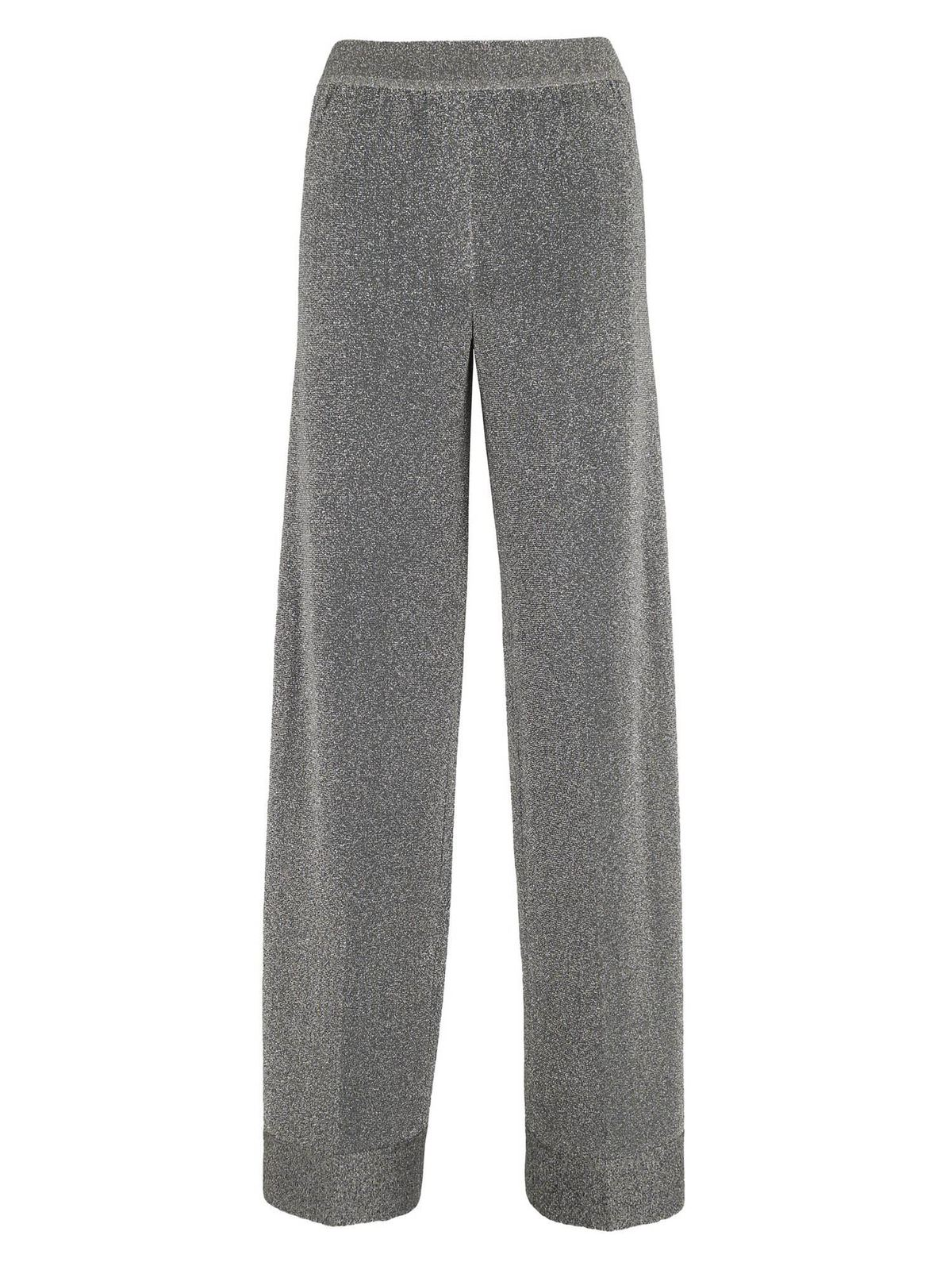 Missoni LAME PALAZZO PANTS IN SILVER