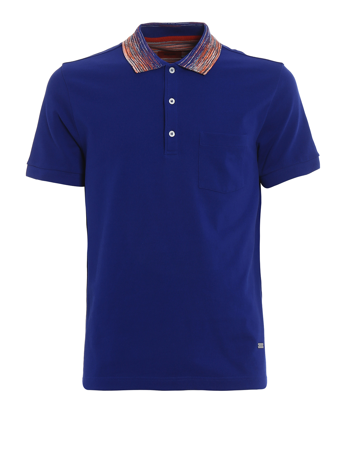 Striped Collar Royal Blue Polo By Missoni Polo Shirts